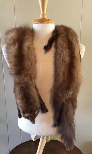 Vintage Mink Pelts Unbranded 1940s Shoulder Stole Wrap Collar Full Natural Heads