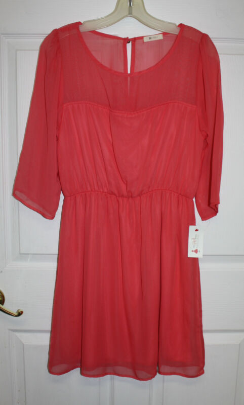 Womens Everly The Red Dress Boutique Sheer Elastic Waist 3/4 Sleeve Dress Sz L