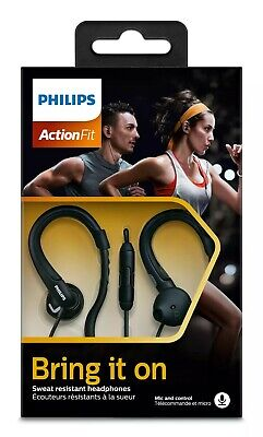Philips SHQ1255T Action Fit Sweat Resistant Headphones-Black-Wired With MIC