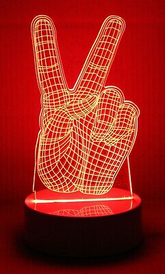 Peace Sign Night Light (3D Lamp Night Light LED Illusion With Three Changing Color Lights - Peace)