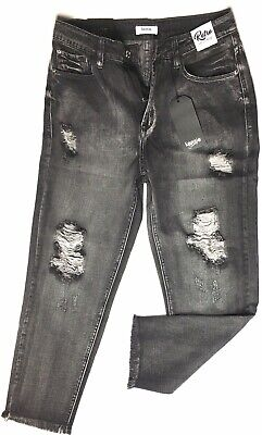 Kensie Grey Jeans Womans size 4/27 Retro High Rise Distressed Jeans Size 4