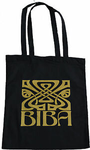 RETRO-BIBA-LARGE-ICON-LOGO-SHOPPING-ECO-TOTE-BAG-100-BLACK-COTTON-GOLD-PRINT
