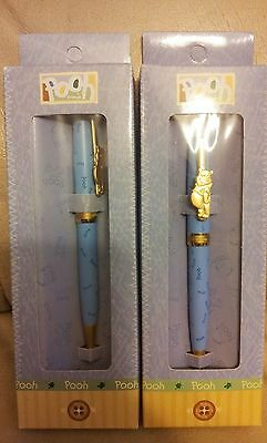 Lot of 2 Official Walt Disney Pooh Friends Blue Gold Ball Point Pen Resort Parks