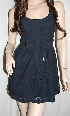 🌸NWT HOLLISTER by Abercrombie Womens Spring Summer Sun Navy Floral Lace Dress L