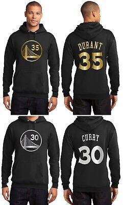 New Golden State Warriors Steph Curry or Kevin Durant Black Hoodie Gold / Silver - Gold State Warriors