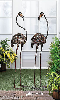2 LARGE modern RECYCLED rusty metal wire ART Flamingo bird outdoor Stake Statue for sale  USA