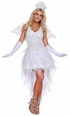 Beautiful Angel Costumes (Dreamgirl Deluxe White Angel Beauty Adult Women's Halloween Costume)