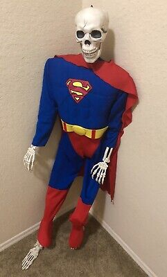 DC Comics SUPERMAN Costume Formed Muscles Cape Jumpsuit Halloween Size Youth M