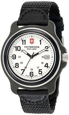 New  Victorinox Swiss Army Original  White Black Nylon Strap Men's Watch 249086