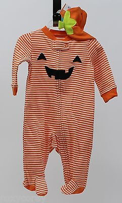 Halloween Infant Carter's Orange White Pumpkin Sleeper with Hat Size 3 months  (Baby Halloween Costumes Carters)