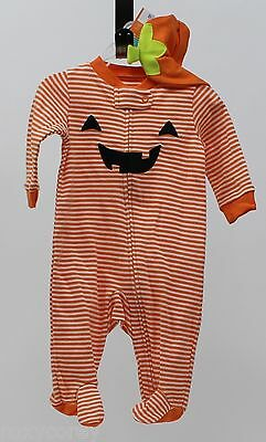 Baby Halloween Sleepers (Halloween Infant Carter's Orange White Pumpkin Sleeper with Hat Size 3 months)