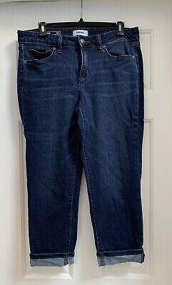 Sonoma Kohls Dark Wash Roll Cuff Crop Capri Pants 10 (2) Cuff Capri Pants Jeans