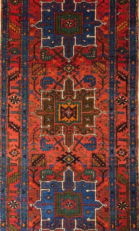 Handsome Heriz - 1930s Antique Karaja Runner - Tribal Persian Rug 3 X 10.7 Ft