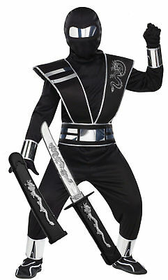 Samurai Kids Kostüme (Boys Kids Halloween Ninja Samurai Ghost Fancy Dress Costume Outfit 4-14 + TOY)