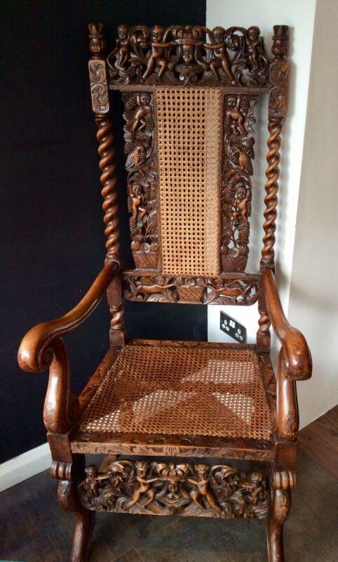 Mid 19th Century Walnut Carved Carolean Throne chair. 17th C. design