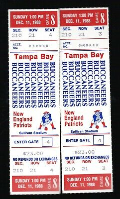 2 Dec 11, 1988 New England Patriots & TB Buccaneers Full Tickets 10-7 Pats