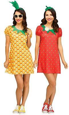 Adult Strawberry Pineapple Flirty Fruit Costume - Strawberry Adult Costume