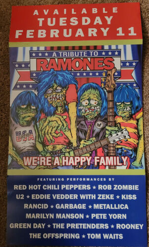 The Ramones 2002 Tribute Columbia Records 2 sided promo poster
