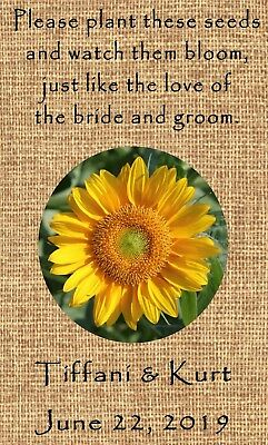 Wedding Wildflower Seed Packets Burlap Sunflower Design Set of 100 (Wedding Favors Wildflower Seeds)