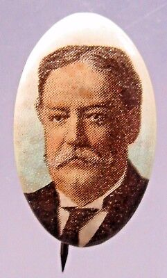 TAFT looking forward President color OVAL pinback button w/back paper +