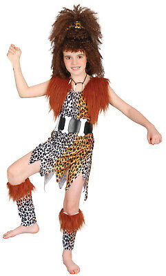 Girls Teen Kids Cavegirl Stoneage Caveman Fancy Dress Costume 4-14 + WIG](Kids Caveman Costumes)