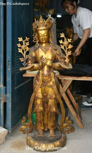 "42 "" Bronze Gilt Maitreya Bodhisattva Padmapani LOKESHVARA Tara Buddha statues"