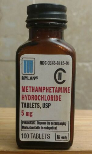 Vintage Medicine Hand Crafted Bottle, Methamphetamine Hydrochloride 5 mg. EMPTY