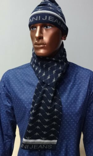 ARMANI JEANS Set Navy Scarf & Hat Wool Cashmere ONE SIZE