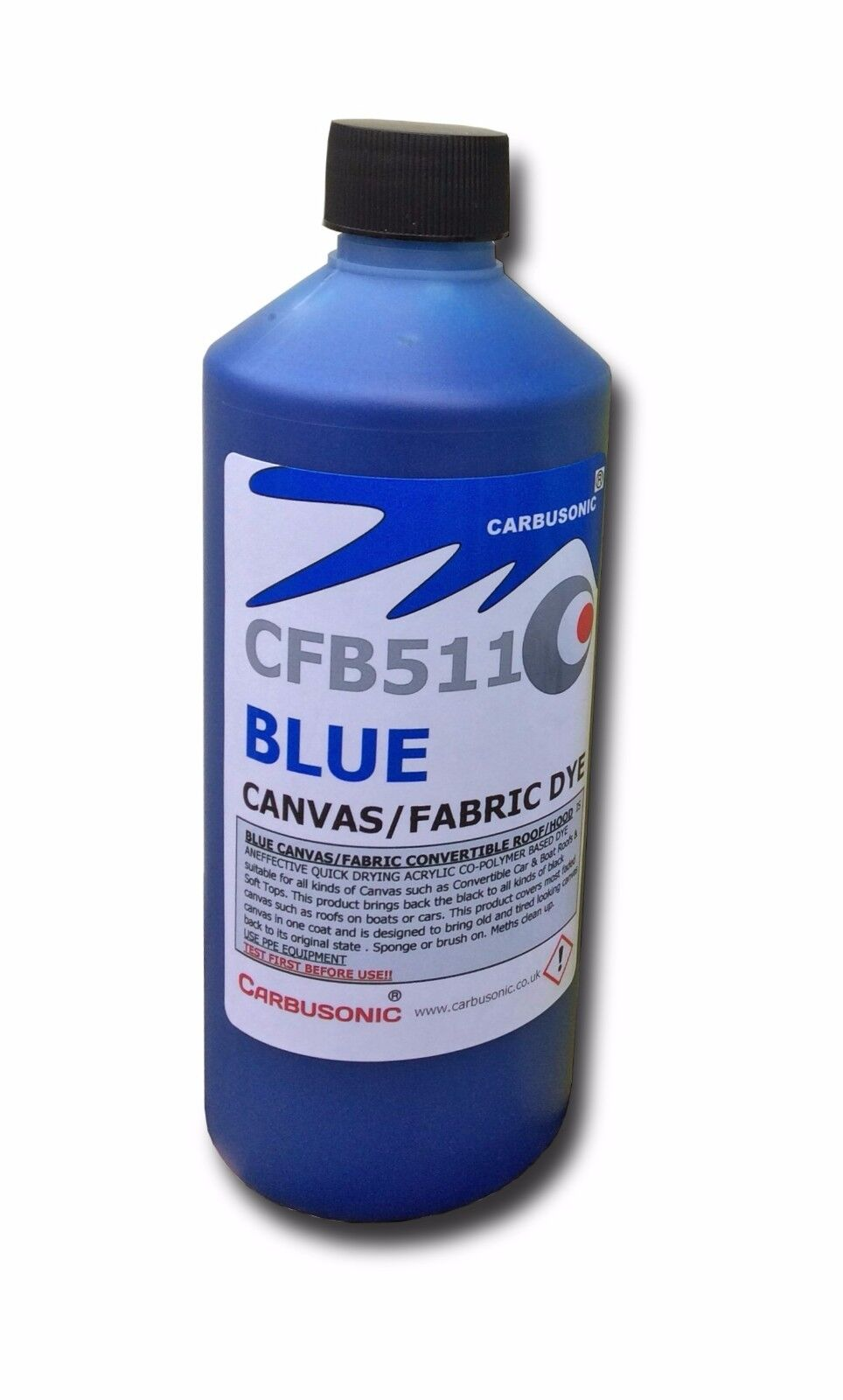 Blue convertible roof hood canvas dye / reviver , restores colour to fabrics.