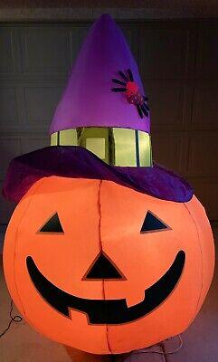 Gemmy 7 ft Orange Inflatable Halloween Pumpkin Jack o Lantern Holiday Witch Hat