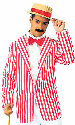 Roaring 20's Retro Blazer Adult Men's Costume Red & White Striped Fancy Dress](Roaring 20's Men's Attire)