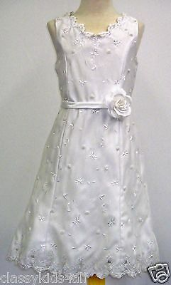 Girl Toddler Pageant 1st Communion Graduation Formal White Dress 2 4 6 8 10 12