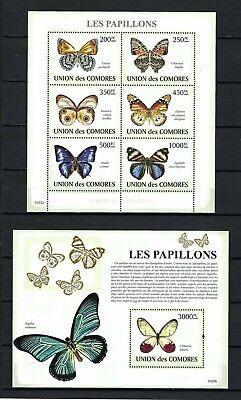 Comoros 2009 Sc#1091-92  Butterflies  MNH Miniature & Souvenir Sheet Set $30.00