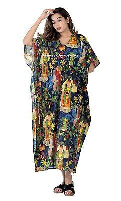 Indio Vestido Largo Kimono Talla Grande Azul Marino Frida Kahlo Algodón Caftán
