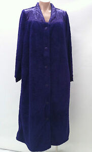 Womens Ladies Button Up Microplush Dressing Gown 3 colours S/M M/L L/XL