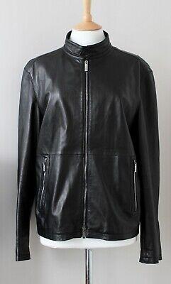 ARMANI COLLEZIONI black lamb leather jacket biker vintage IT50 Large/Medium
