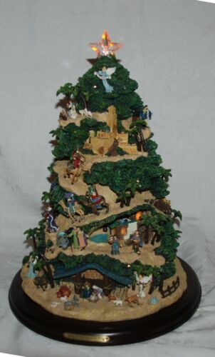 Hawthorne Village Illuminated Christmas Tree Thomas Kinkade Nativity Tabletop