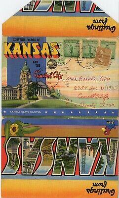 Linen postcard folder SALE-Kansas and he Capital City