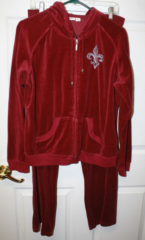 Womens Ladies CATO Burgundy Velour Zip Hoodie & Drawstring Pants Size 14/16W
