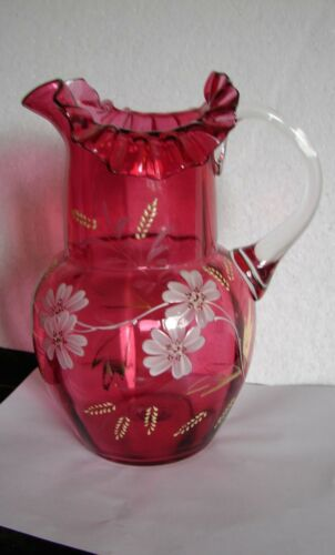 Antique HP Enameled Floral Blown Cranberry Art Glass Lemonade Water Pitcher