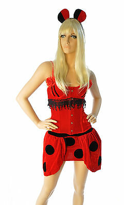 SALE!! Sexy Red Lady Bug Adult Womens Cosplay Costume Dress Corset XS-M