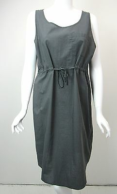 Cos Dress Charcoal Gray Cotton Scoop Neck Drawstring Waist Eu 44 Us 14
