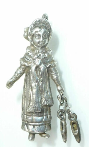 Victorian Kate Greenaway Sterling Silver Charm Necklace Pendant 925/S