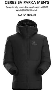 BRAND NEW ARCTERYX CERES SV PARKA  FOR 800$ RETIAL PRICE 1000$