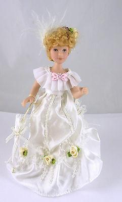 Miniature Victorian Dollhouse Doll in Fancy White Dress, Umbrella, 004