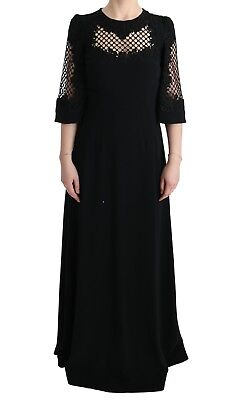 NEW $6000 DOLCE & GABBANA Dress Black Stretch Shift Long Maxi Gown s. IT38 / US4