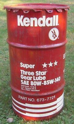 Vintage KENDALL 15 Gallon Oil Drum Barrel Trash Can Garage Decor
