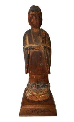 15C Japanese Muromacho Period Wooden Carved Buddha Sculpture on Base (RgR)