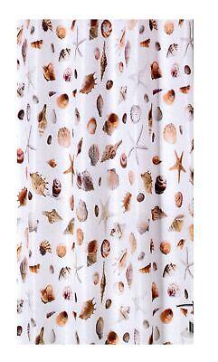 Fabric Shower Curtain Seashell Themed Bathroom Starfish Snails Coastal Shells ()