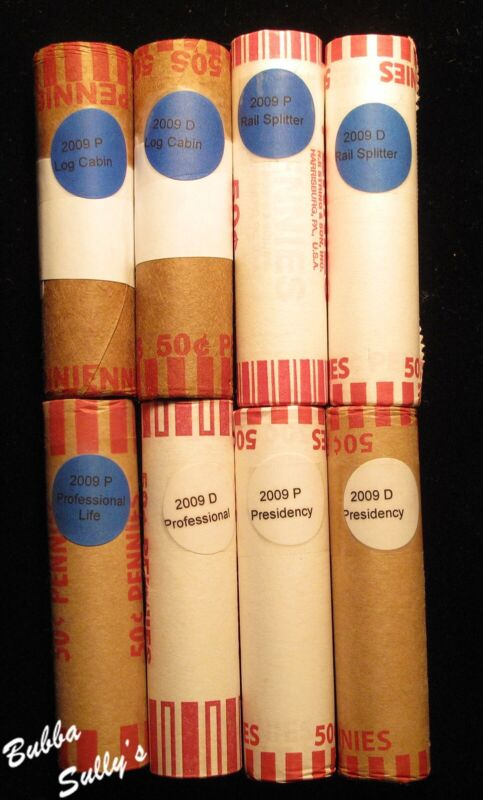 Group of 8 2009 P & D Lincoln Cents <> All 4 Issues